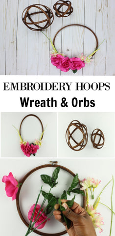 pinterest inspired embroidery hoop wreath and orbs