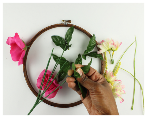 flowers for DIY embroidery hoop wreath