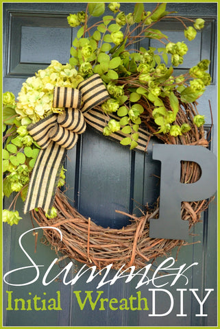 Summer initial wreath
