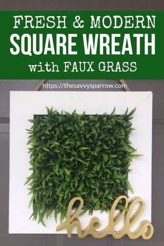 faux grass square wreath