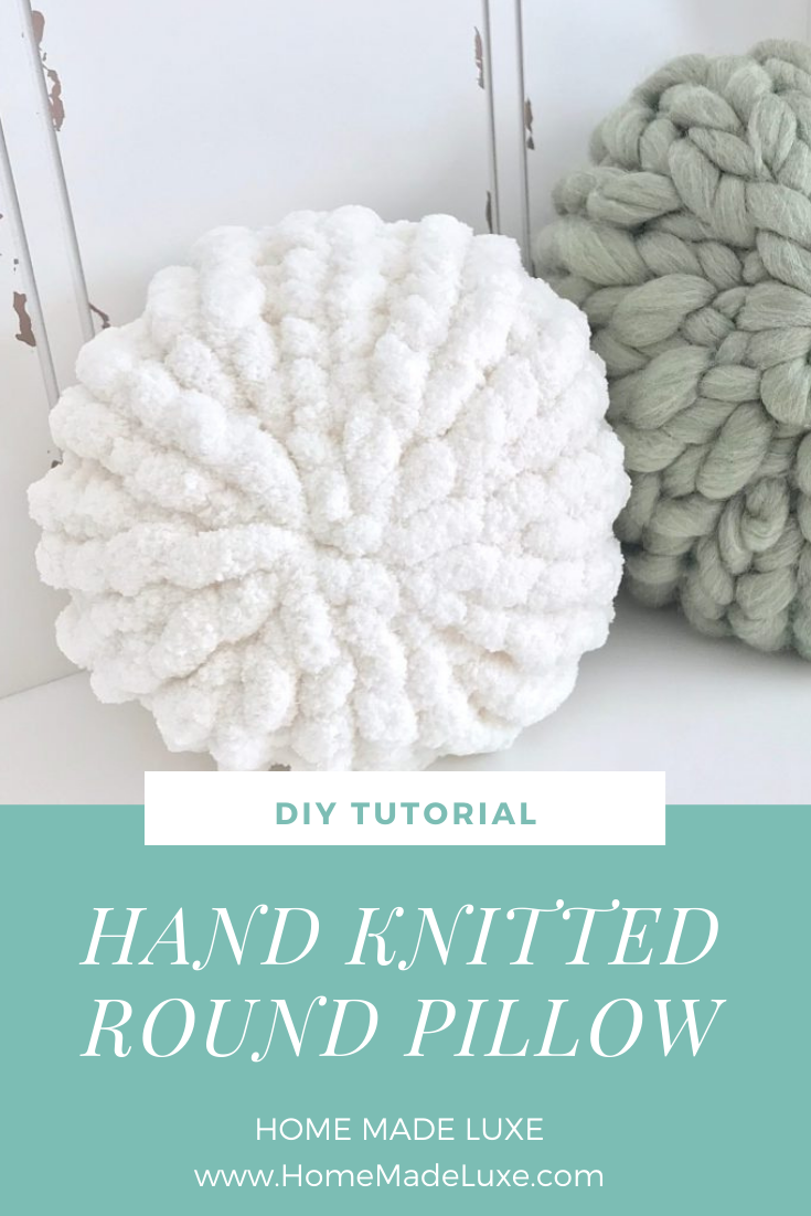diy hand knitted round pillow video tutorial