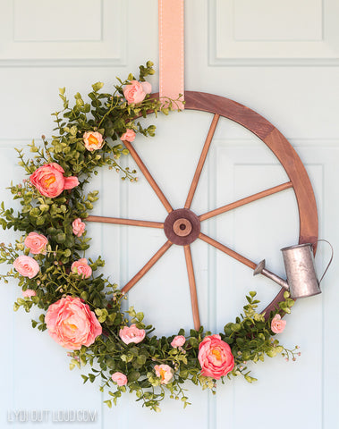 wagon wheel farmhouse summer wreath