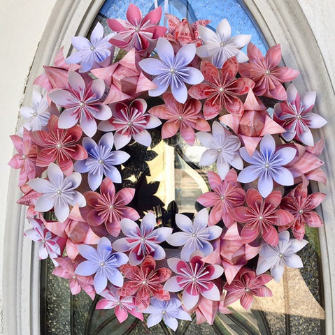 flower paper origami wreath
