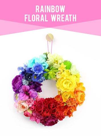 rainbow flower wreath