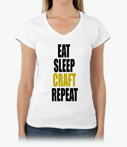 Eat Sleep Craft Repeat V-Neck Graphic Tee