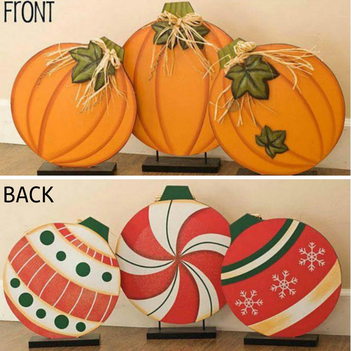 Reversible Pumpkin Ornament Wood Craft