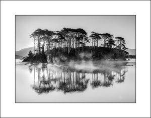 Derryclare Lough Connemara Ireland in Black & White Photographic Art by Irish Landscape Photographer John Taggart