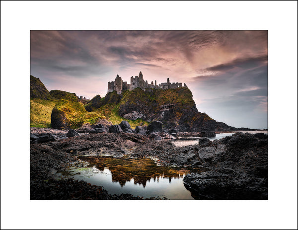 Fine Art Irish Landscape Photography of Dunluce castle at sunset in Co Antrim