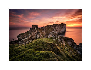 A Fine Art Irish landscape By Photographic Artist John Taggart of Kinbane Castle in Co, Antrim Northern Ireland at sunrise