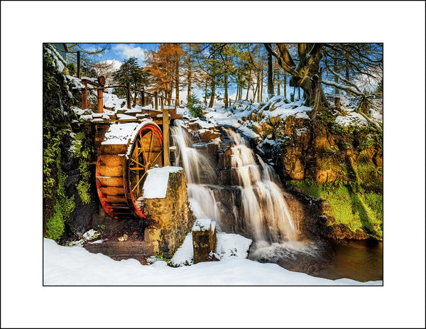 A Fine Art landscape by Irish Photographic Artist John Taggart of an old water wheel in the glens of Co, Antrim