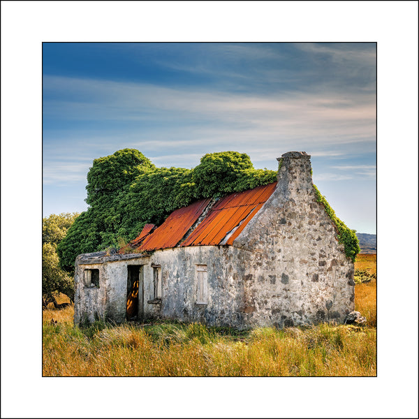 A Fine Art landscape of an old ruined cottage in Connemara Ireland by Irish Fine Art Landscape Photographer John Taggart