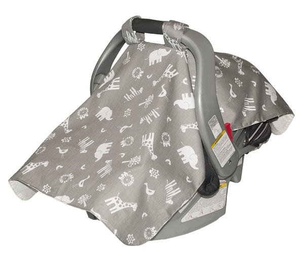 Infant Car Seat Veil - Grey Jungle