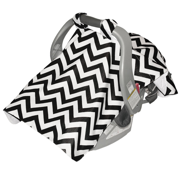 Infant Car Seat Veil - Black Chevron