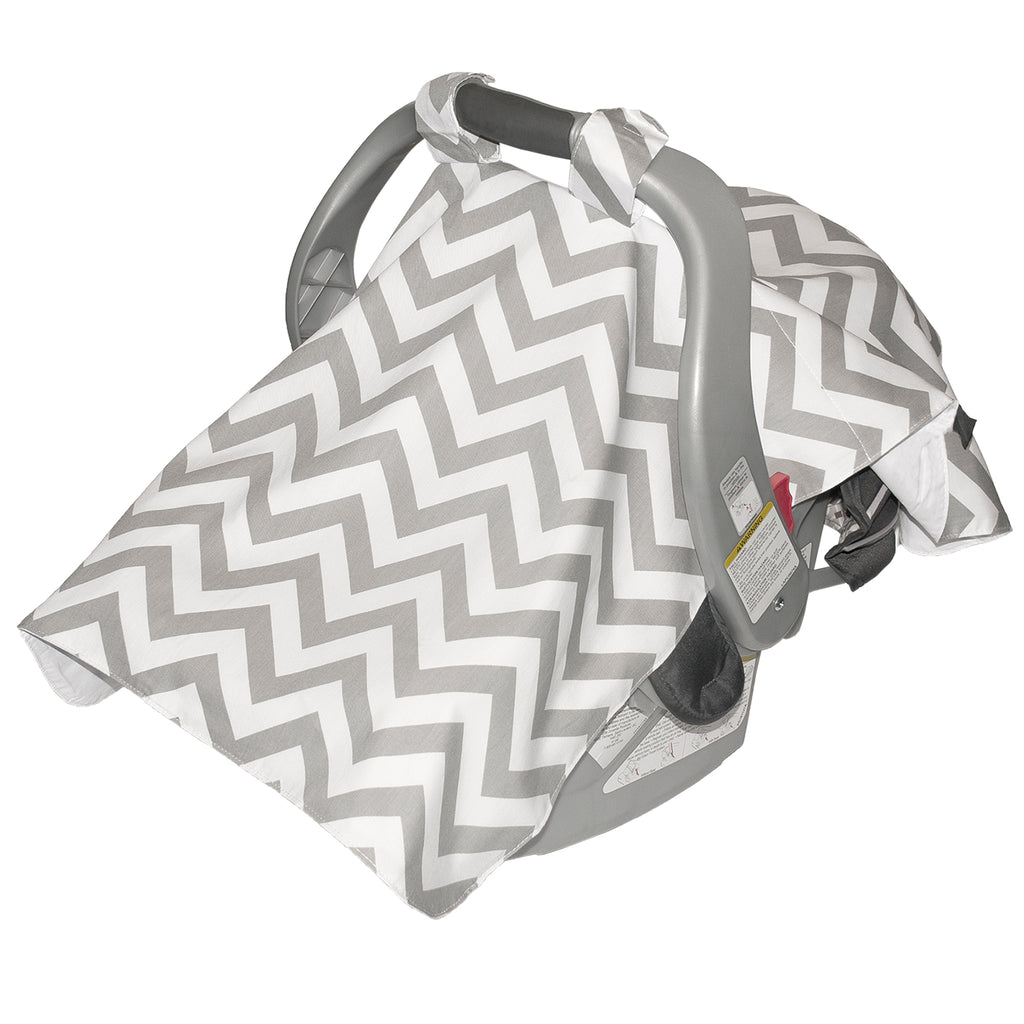 Infant Car Seat Veil - Grey Chevron