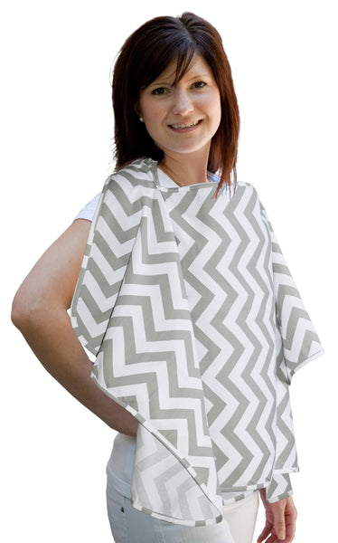 Nursing Poncho - Grey Chevron