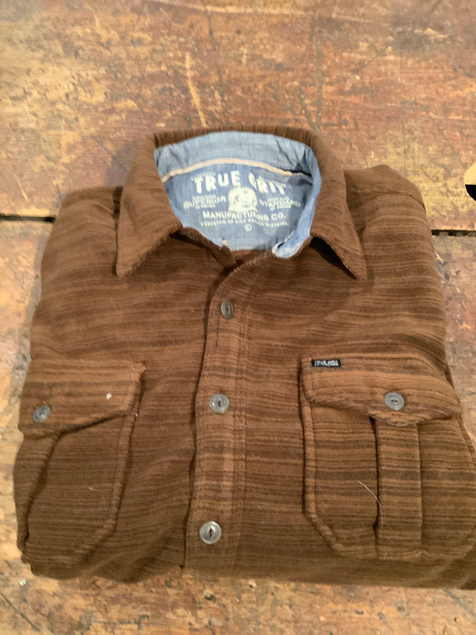 Dark brown striped fleece button up