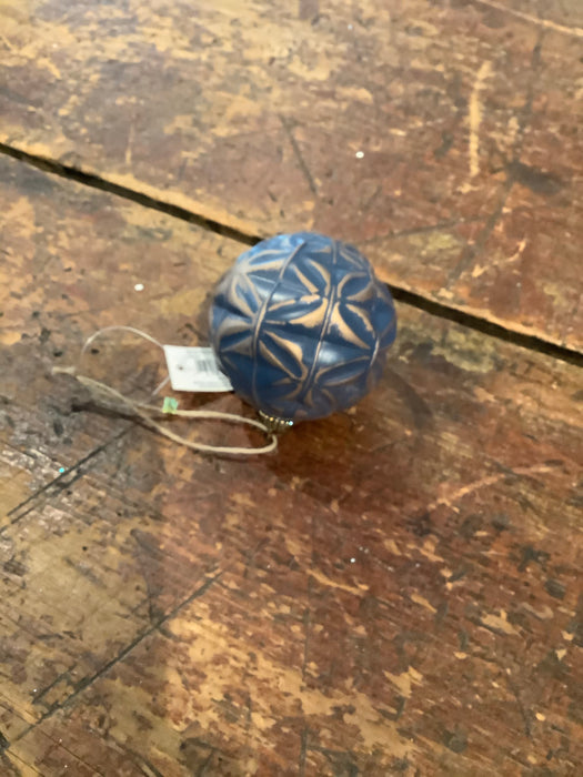 Blue and Bronze Ball Ornament