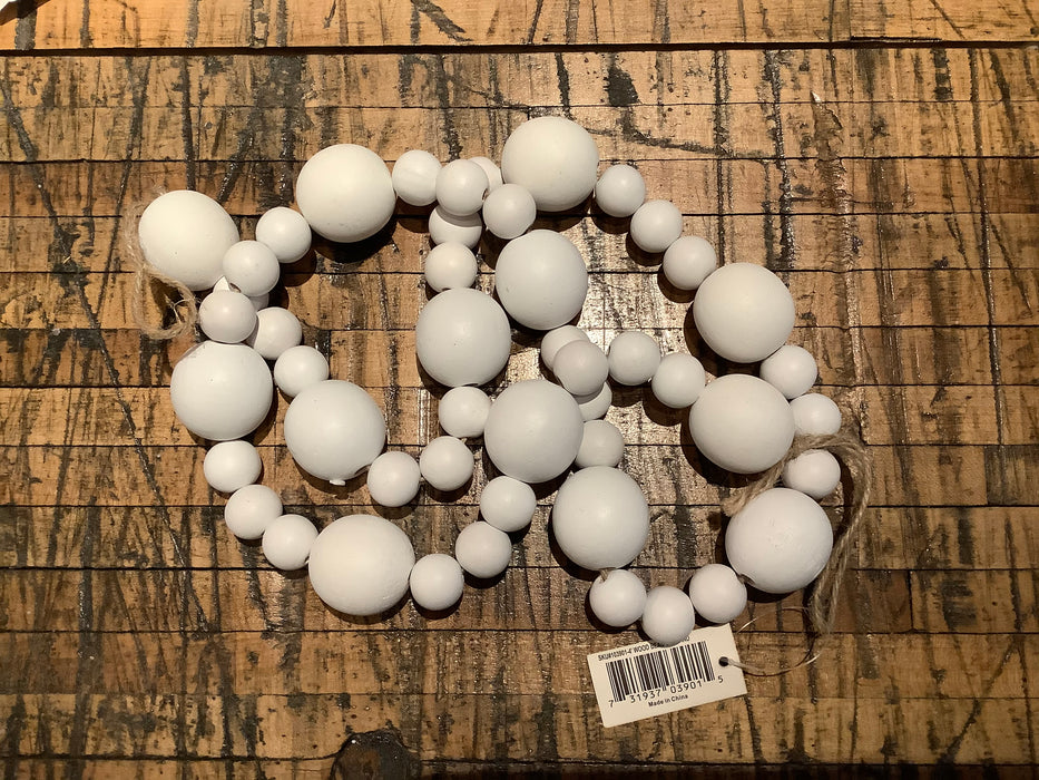White wooden ball garland