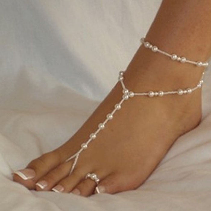 Imitation Pearl Beaded Barefoot Sandals - Jacaranda Events