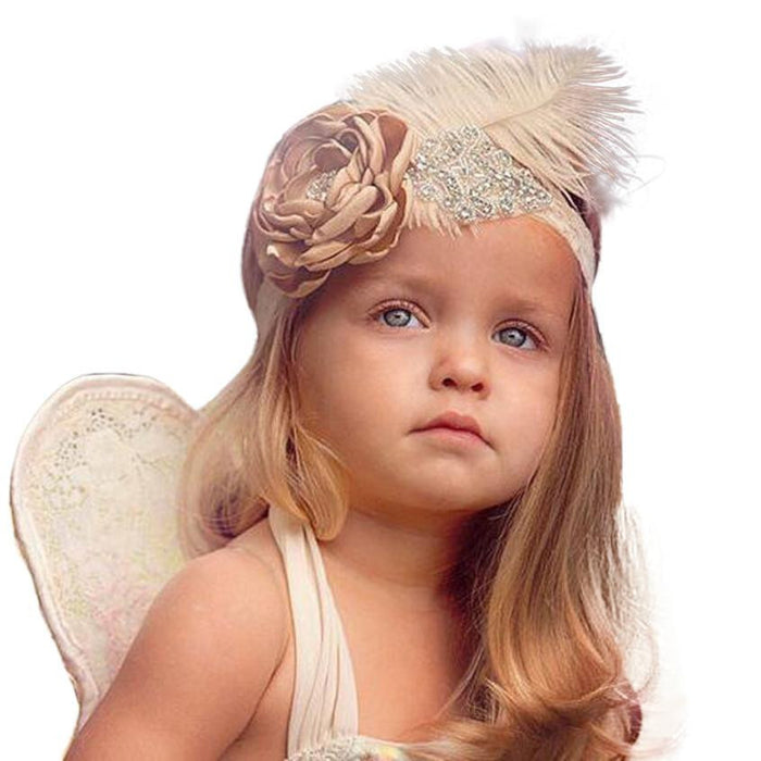 Baby Girls Crystal Flower & Feather Headband - Jacaranda Events