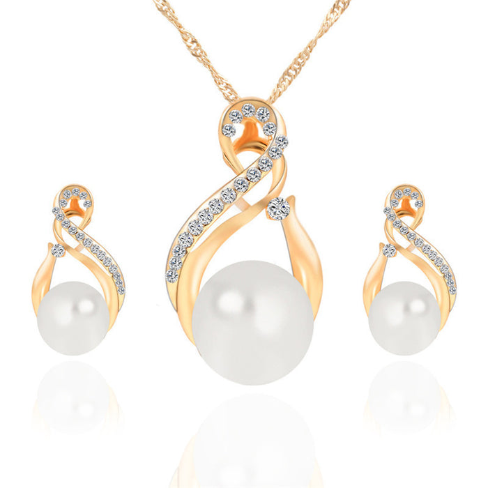Crystal Pendants Necklace & Earrings Jewelry Set - Jacaranda Events