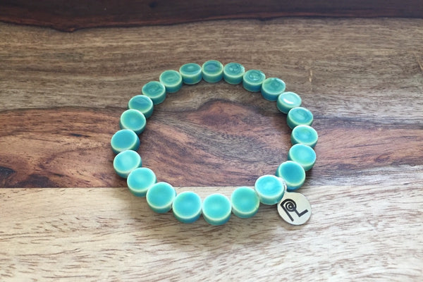 Aqua Round Charm Stackable