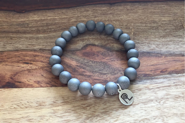 Silver Druzy Charm Stackable