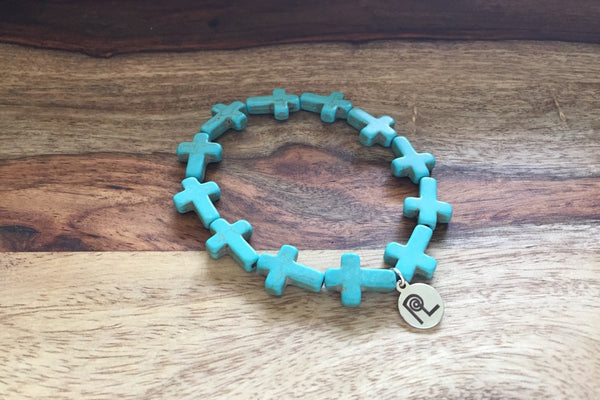 Turquoise Cross Charm Stackable