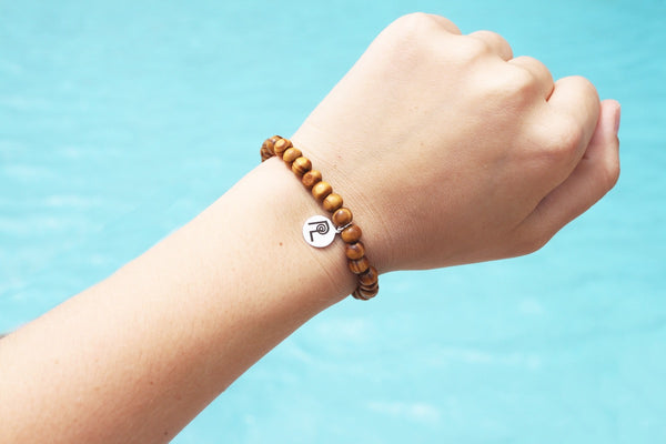 Striped Wood Charm Stackable