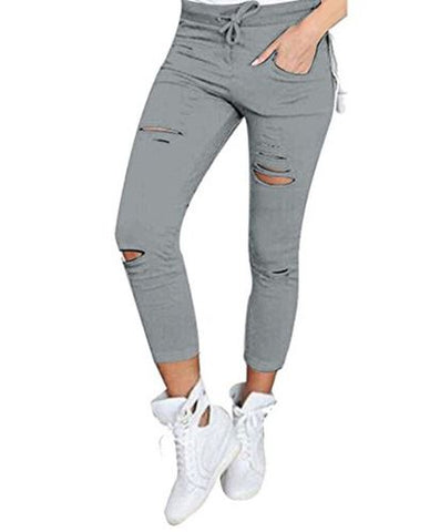 Evie Skinny Ripped Jeans - Grey