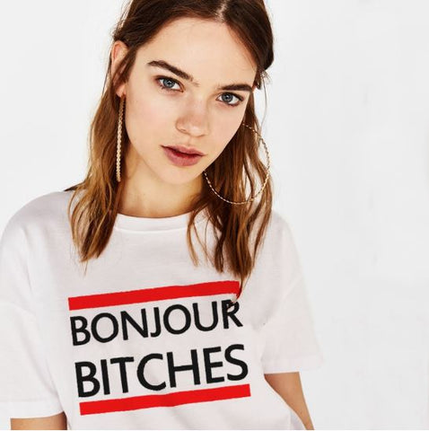 "NEW Emma ""Bonjour Bitches"" T-Shirt - White"