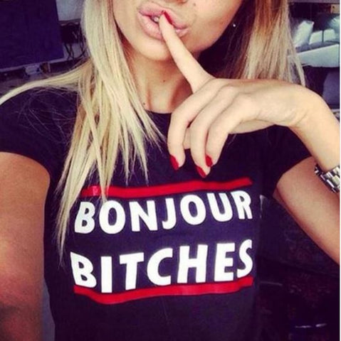 "NEW Emma ""Bonjour Bitches"" T-Shirt - Navy"