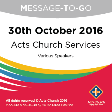 Weekly Message-To-Go: 30th October 2016