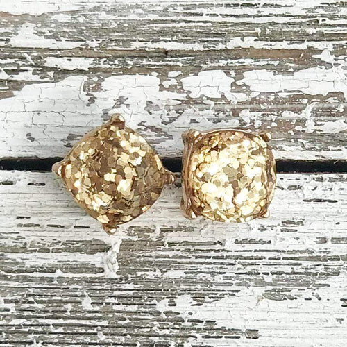 Envy Stylz Boutique Earrings Gold Glitter Stud Earrings