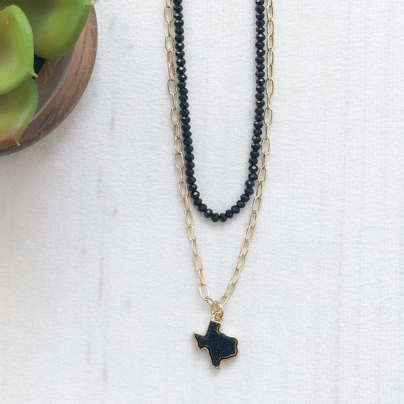 Envy Stylz Boutique Necklace Beaded Black Texas Druzy Necklace