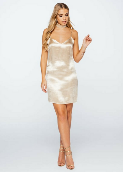 Gold Choker Slip Dress