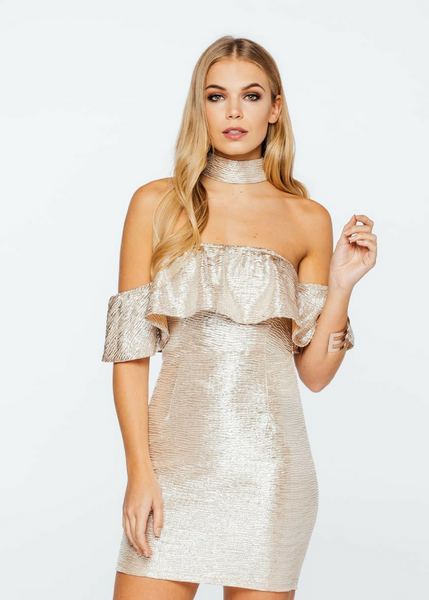 Metallic Choker Bardot Dress