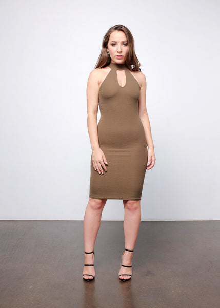 Collar Cut-out Midi Dress 2