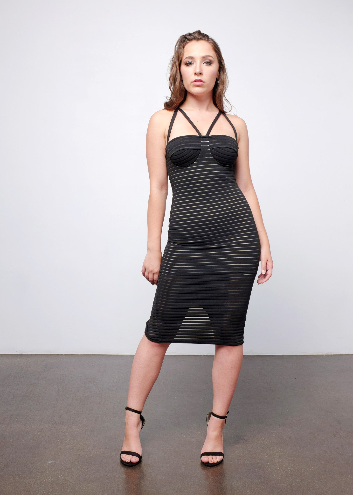 Stripe Dress with Mesh Insert