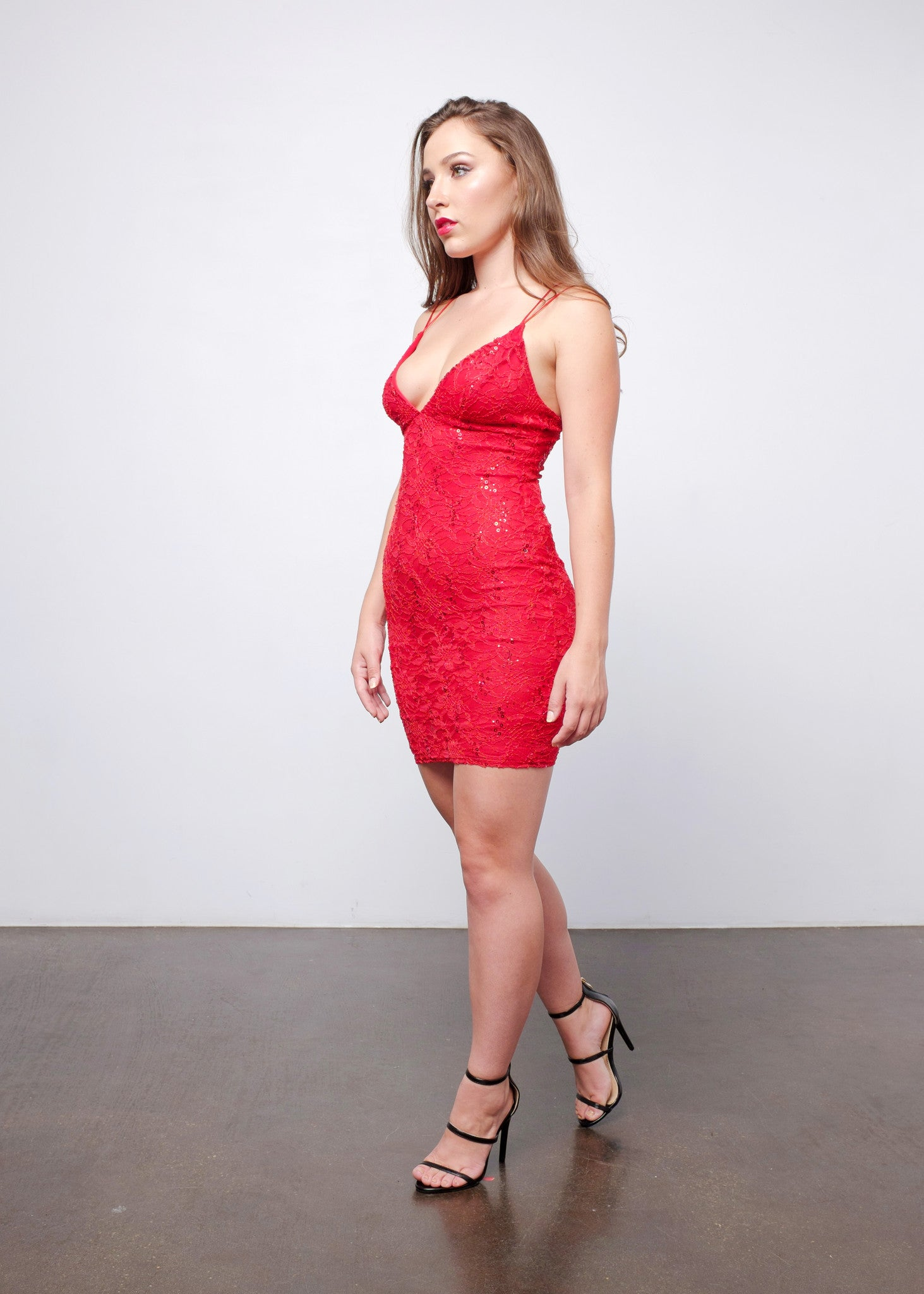Red Sequin Lace Dress 3