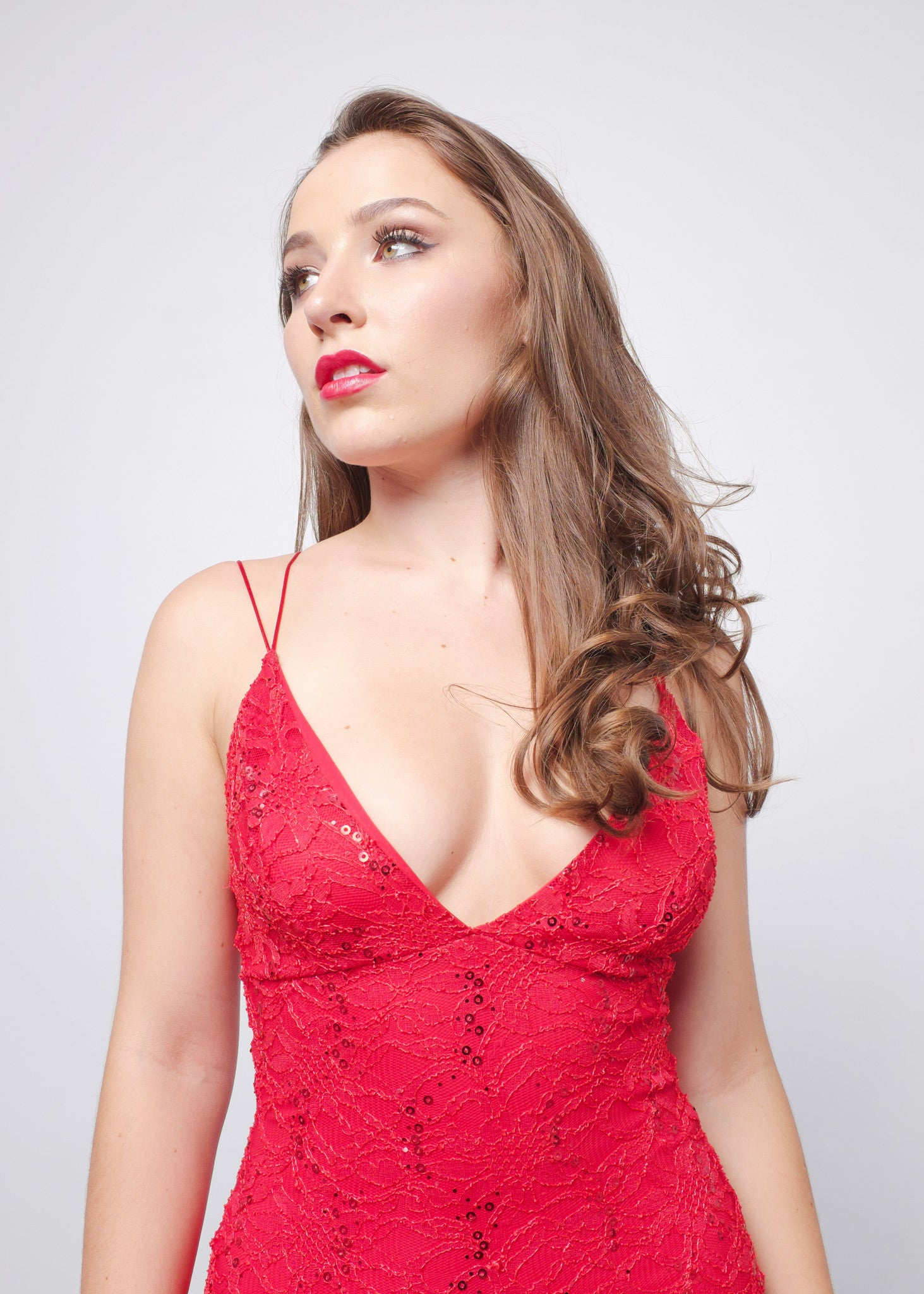 Red Sequin Lace Dress 4
