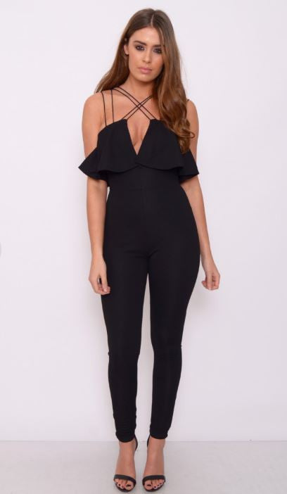 Black Strappy Plunge Jumpsuit