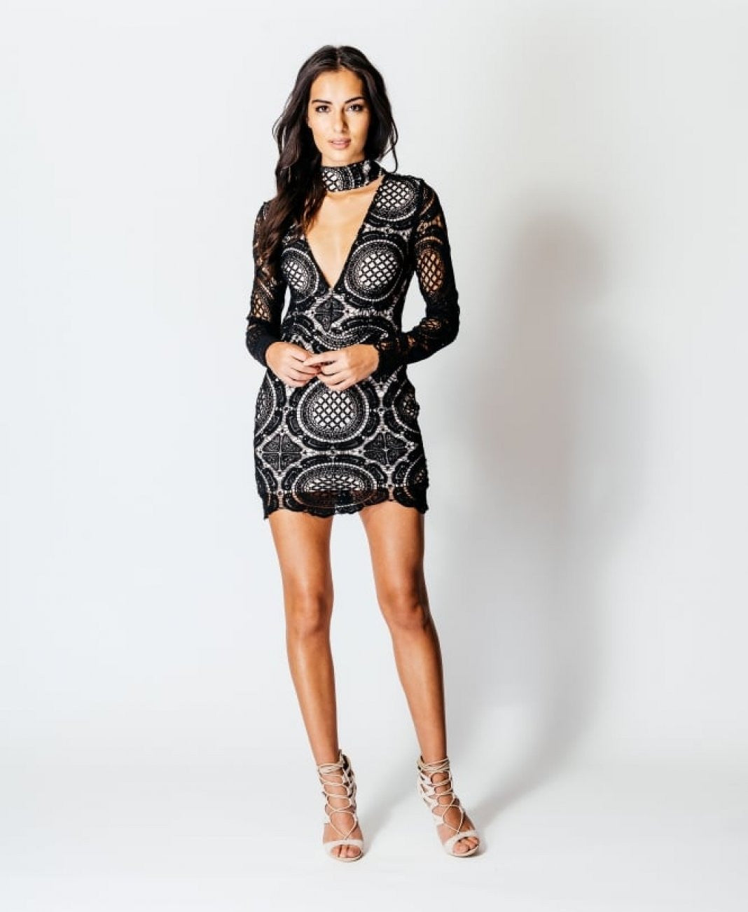 Lace Choker Mini Dress 1