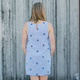 CISCO BREWERS PIPING PRINT SHIFT DRESS