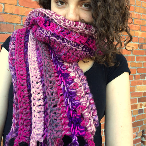 Chunky Berry Colors Scarf / Wrap / Shawl
