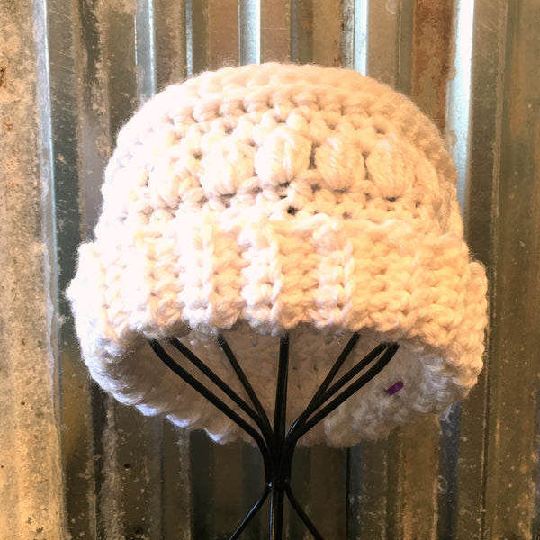 White Patterned Crochet Beanie Hat