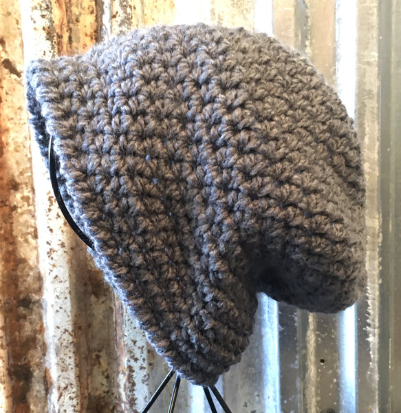 Simple Stitch Gray Toboggan Hat / Crochet Slouchy Beanie
