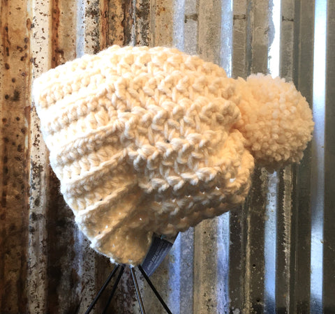 Ivory crochet hat with Pom Pom