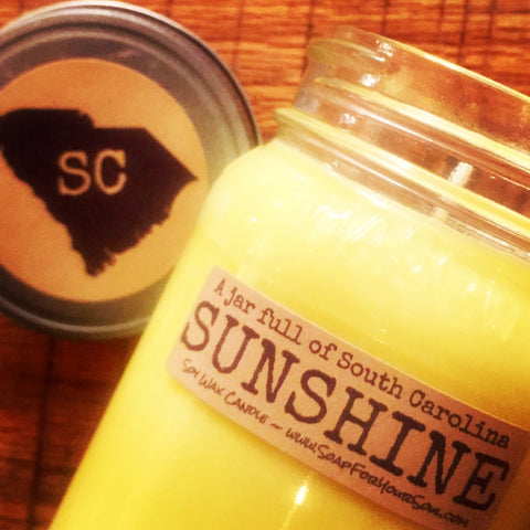 Jar full of South Carolina SUNSHINE soy candle