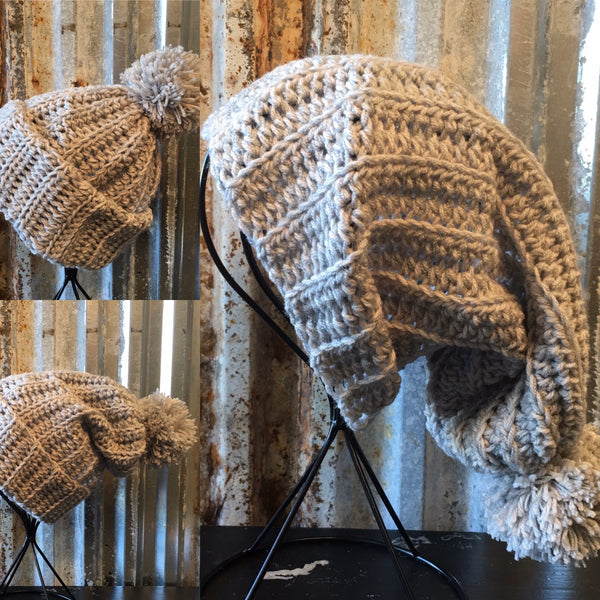 Gray / Silver Floppy Beanie Crochet hat with Pom pom